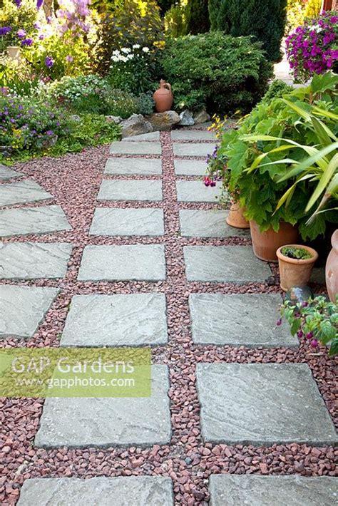 paving and gravel garden ideas gap gardens paving slab and gravel patio image
