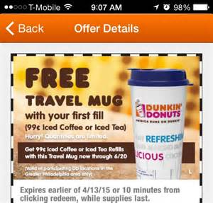 Free Dunkin Donuts Travel Mug & $.99 Refills {Back Again