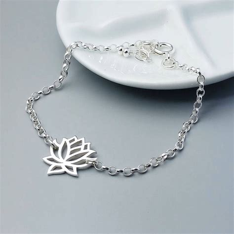 sterling silver lotus sterling silver bracelet by wished for