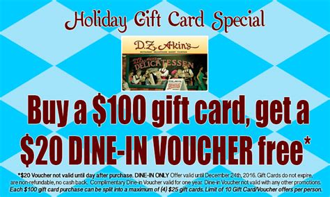 gift card specials 2014 gift cards swagg d z akin s restaurant delicatessen