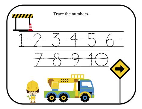 for printable preschool printables construction number tracing