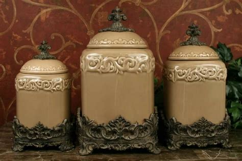 tuscan style kitchen canisters tuscan design taupe kitchen canisters s 3