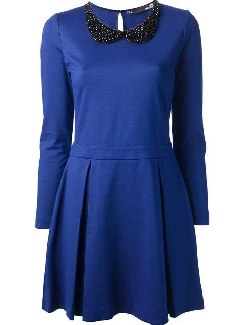 beaded collar dress moschino beaded collar dress in blue lyst