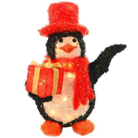 light up gift box decoration festive glittery 56cm light up penguin with gift box