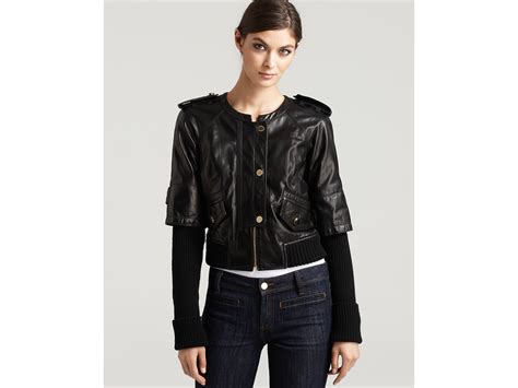knit sleeve leather jacket burch wentworth sleeve leather jacket with knit