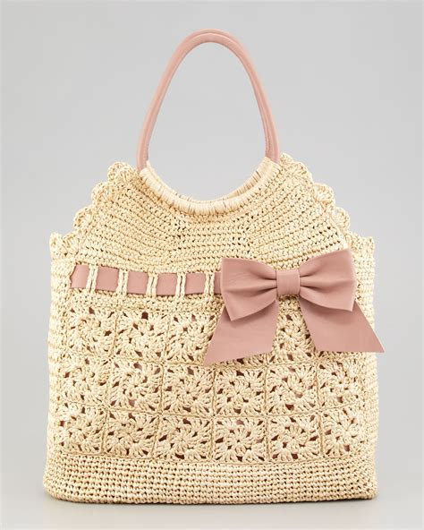 crochet bags with valentino leather and crochet raffia tote bag in