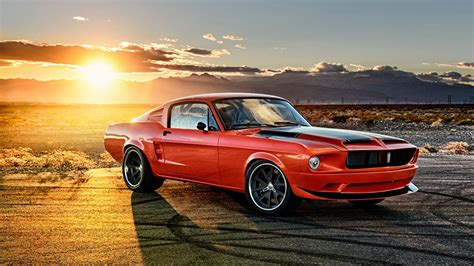 Car Wallpaper 1280x720 wallpaper ford mustang 1968 sunrises and sunsets cars