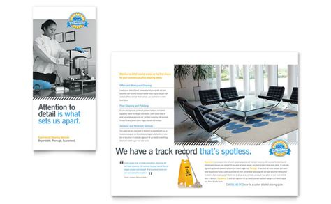 janitorial amp office cleaning tri fold brochure template design