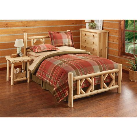 log bed set castlecreek cedar log bed 297898 bedroom
