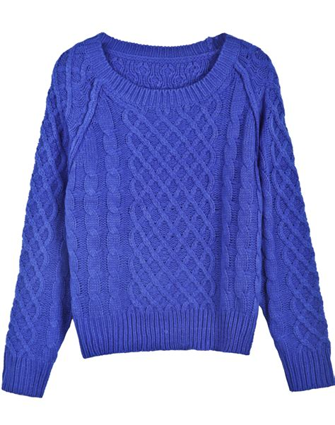 blue cable knit sweater blue sleeve patterned cable knit sweater