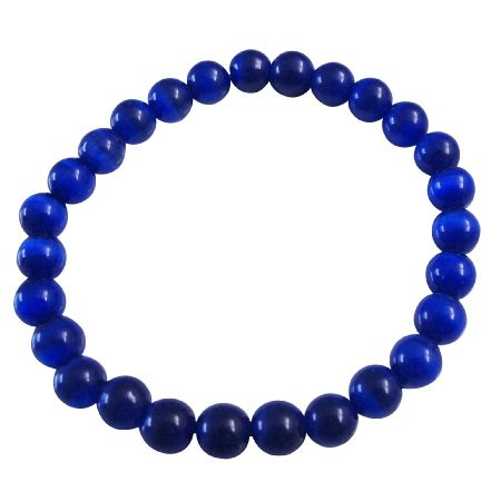 blue beaded bracelet cat eye blue beaded stretchable bracelet handmade jewelry