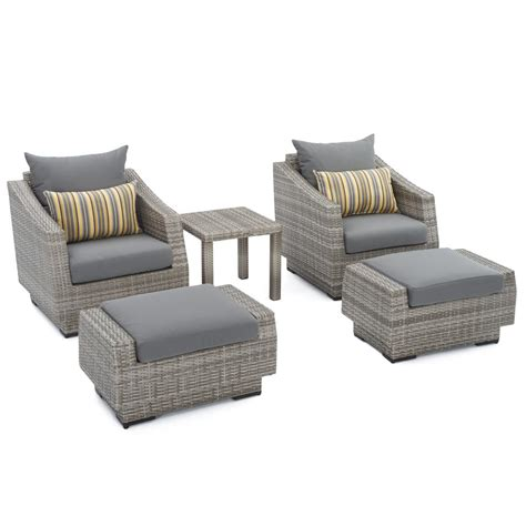 patio chair and ottoman set rst brands cannes 5 wicker patio club chair and