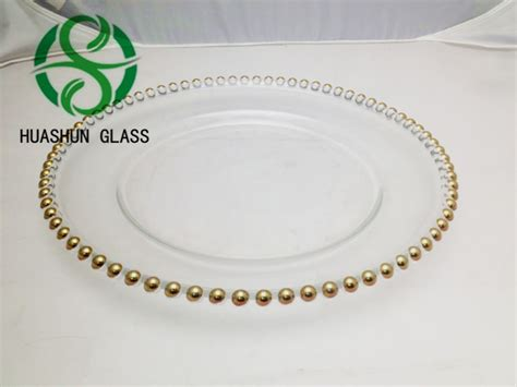 gold beaded charger plates wholesale clear glass plates for crafts wholesale
