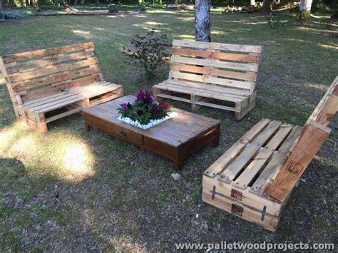pallet garden furniture set pallet wood projects