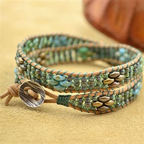 beaded wrap bracelet tutorial superduo bead wrapped leather cord bracelet tutorial the