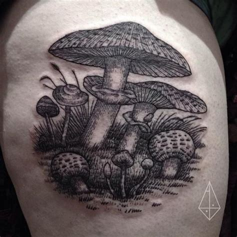 arm mushroom dotwork tattoo by hidden moon tattoo