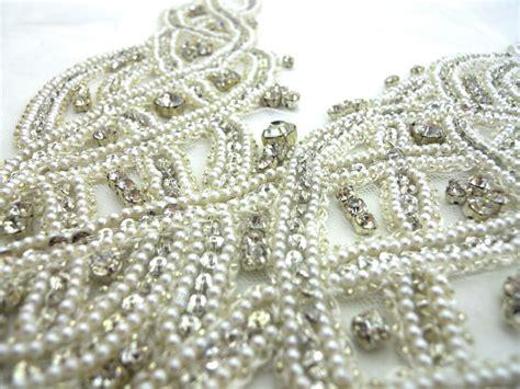beaded fabric b j fabrics ondine white pearl and beaded bodice
