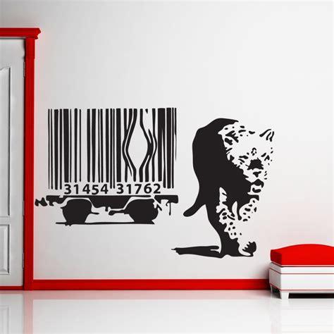 leopard wall stickers banksy barcode leopard wall sticker