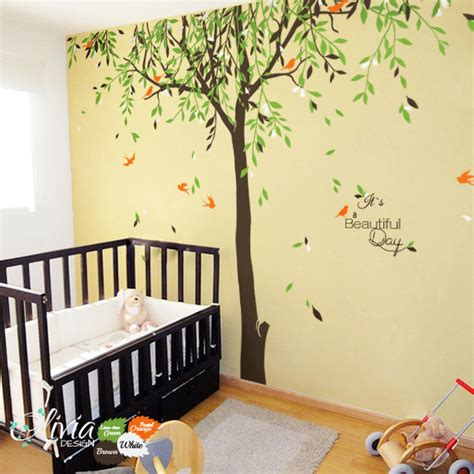 large nursery wall decals large baby nursery willow tree vinyl wall decal nt017
