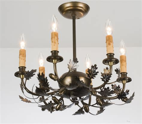 oak leaf chandelier meyda 50095 oak leaf acorn six light chandelier