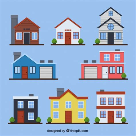 free house design set of houses facades in flat design vector free