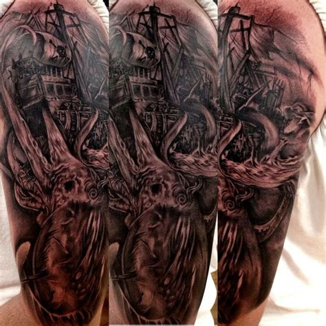black and grey sea monster tattoo tattoos pinterest