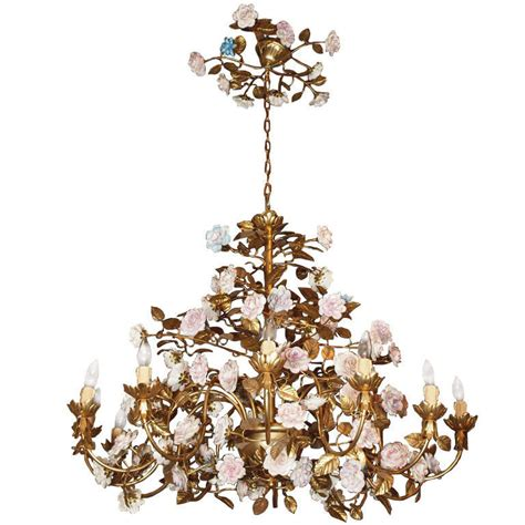capodimonte porcelain chandelier capodimonte gilt bronze chandelier with porcelain flowers at 1stdibs
