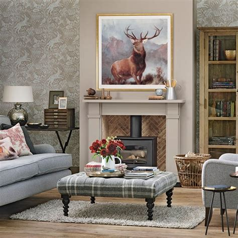 Livingroom Themes traditional living room with stag print heritage room