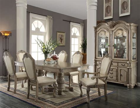acme furniture dining room set 9 acme chateau de ville antique white finish dining set