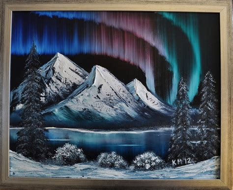 bob ross painted gold pan northern lights bob ross painting painted in class today