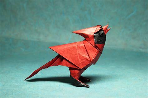origami cardinal 24 beautiful migratory origami birds for the origamimigration