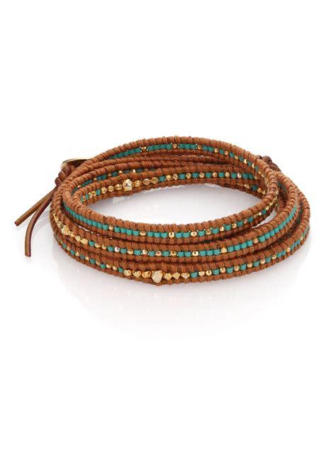 bead wrap bracelet chan luu beaded leather multi row wrap bracelet in brown