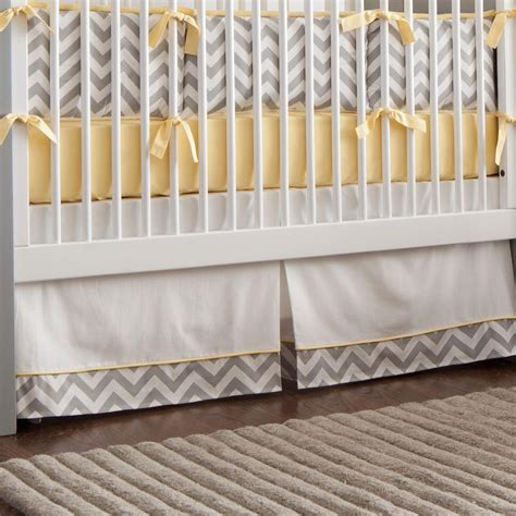 crib bed skirt gray and yellow zig zag crib skirt box pleat carousel