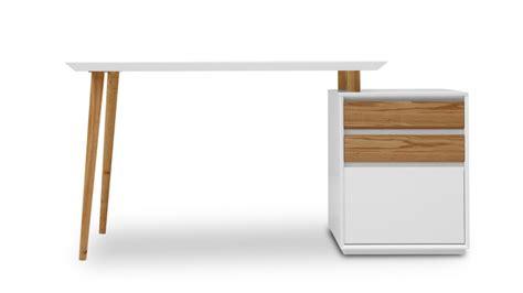 bureau blanc mat svartan avec caisson 3 tiroirs mobilier moss
