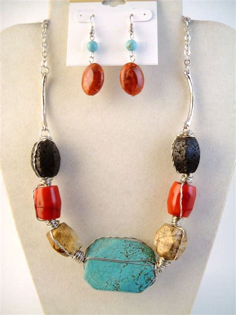 real stones for jewelry large turquoise black genuine stones necklace earrings