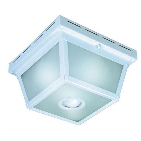 white motion sensor outdoor light hton bay 360 degree square 4 light white motion sensing