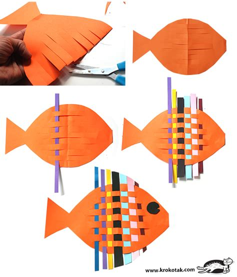 crafts using paper strips tutorial fish from interwoven colored paper strips