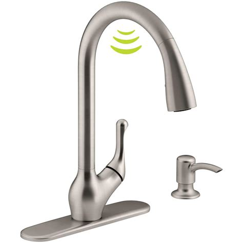 free kitchen faucets kohler barossa with response touchless technology single handle pull sprayer kitchen faucet