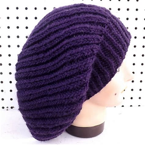 knit beanie needles ravelry slouchy knit ribbed beanie hat pattern by