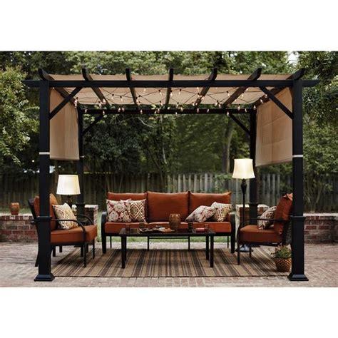 lowes pergola canopy shop garden treasures 134 in w x 134 in l x 92 in h x