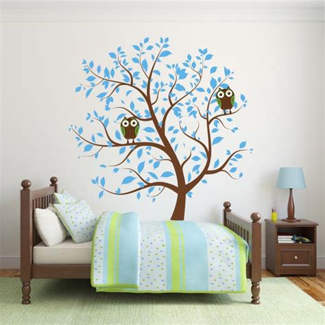 nursery wall decal tree blue nursery tree with owls wall decal wall decal world