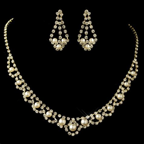 rhinestones for jewelry gold ivory pearl rhinestone jewelry set