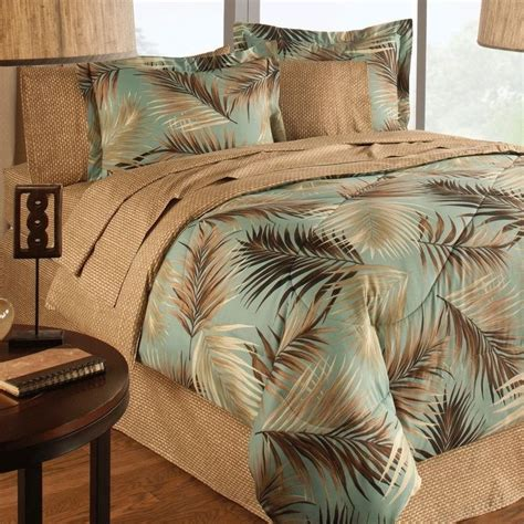 palm tree comforter set new bed a in bag jungle green sand floral print palm