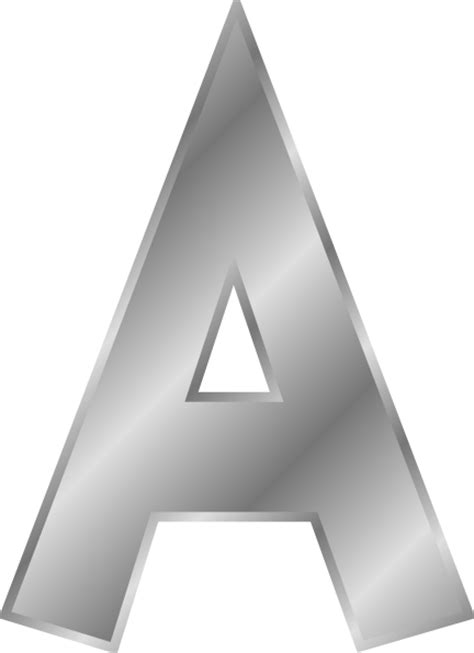 silver letter narrow silver capital letter a clip at clker