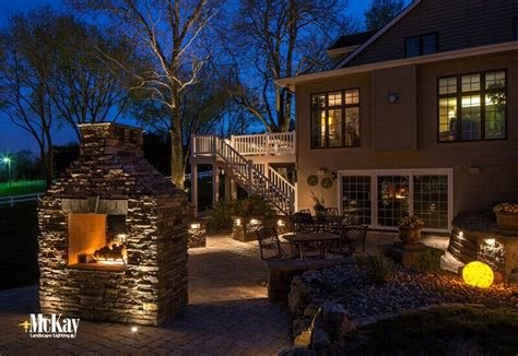 outdoor living fireplace pit landscape lighting