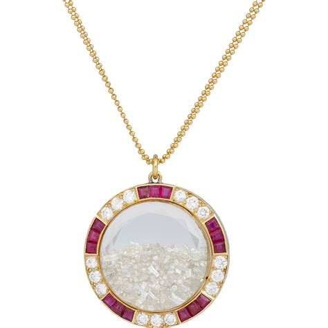ruby gold necklace renee lewis ruby gold shake pendant necklace in