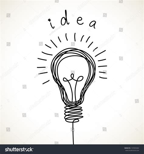 drawing of lights vector light bulb icon with concept of idea doodle
