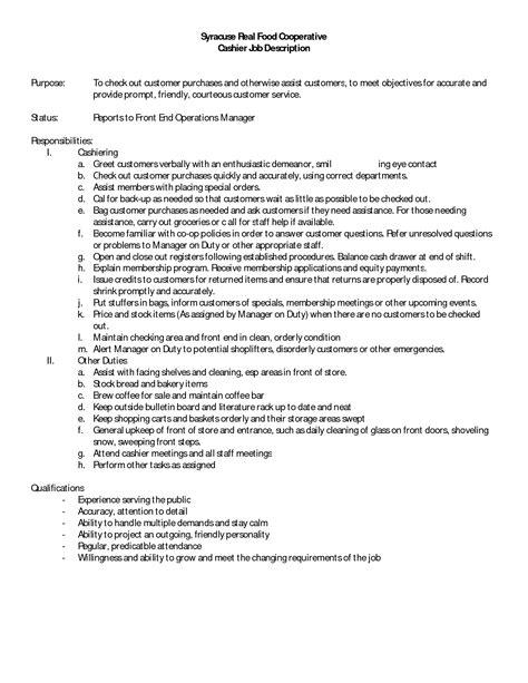 12 cashier job description for resume recentresumes com