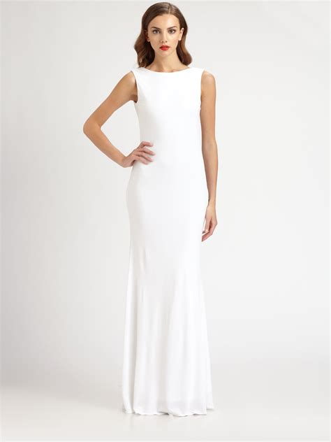 beaded white gown badgley mischka beaded jersey gown in white lyst