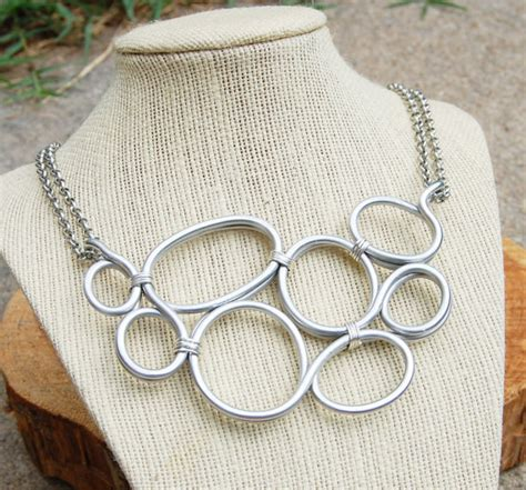 how to make aluminum wire jewelry bubbles necklace large bib silver aluminum wire wire